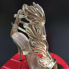 BAYUXSHU Summer Women High Heels Gold Winged Leaves Cut-outs Stiletto  Gladiator Sandals Flame Party 92f450aacf40