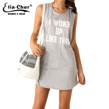 Summer Dress Women 2015 Active Letter Print Sport Dresses Elia cher Brand Chic Sexy open Back Plus Size Causal Dresses(China (Mainland))