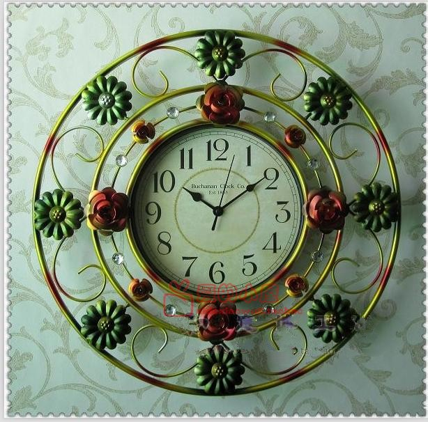 The new era of style wall clock wrought iron wall clock new home fashion color painted decorative metal craft clock watch(China (Mainland))
