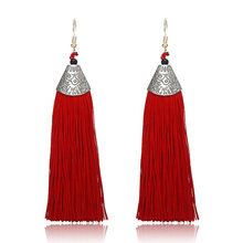 E0478 New Fashion Statement Jewelry Cheap Tassel Long Earring For Women 9 Colors Wedding Dangle Drop Earrings Wholesale(China)