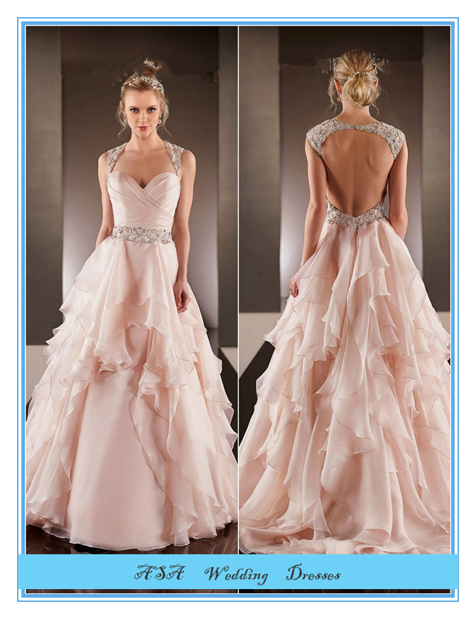 Fashion Plus Size Hot Sexy Light Pink Chiffon Wedding