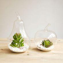 Hanging glass vase, apple + pear vase, 2 PCS / set, flat bottom, free shipping, hanging terrarium/ wedding & Party Use(China (Mainland))