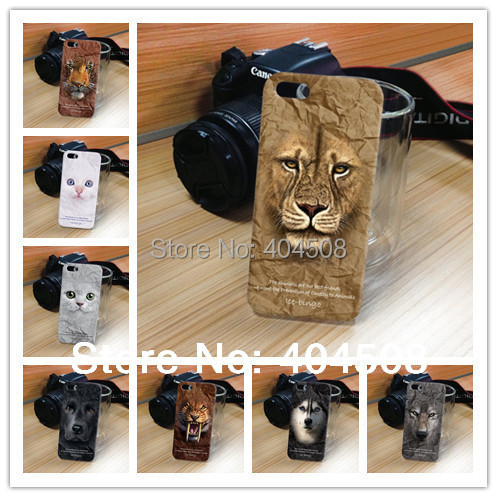 NEW lovely lion dog cat leopard tiger panda wolf plastic hard back shell for iphone 4 4S 5 5s animal cell phone mobile case10pcs