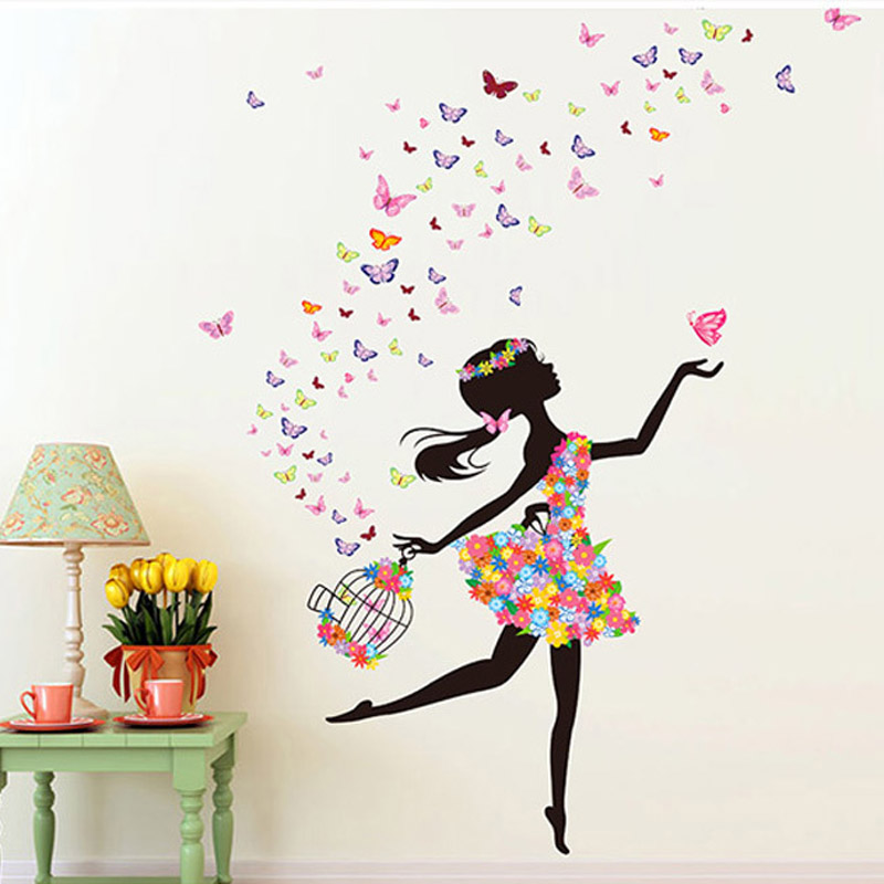 Fashion modern diy decorative mural pvc girl butterfly - Stickers papier peint mural ...