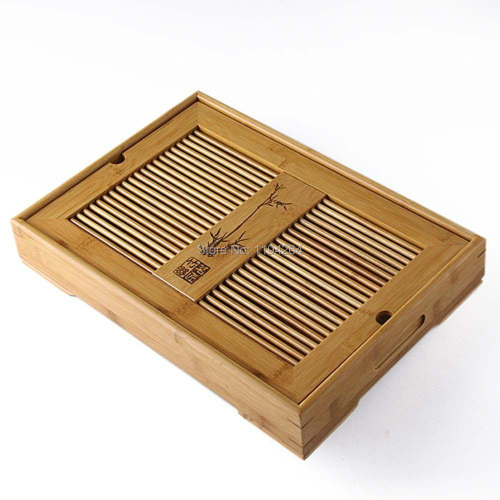Slatted Box High Quality Bamboo Gongfu Tea Serving Tray 27 17cm