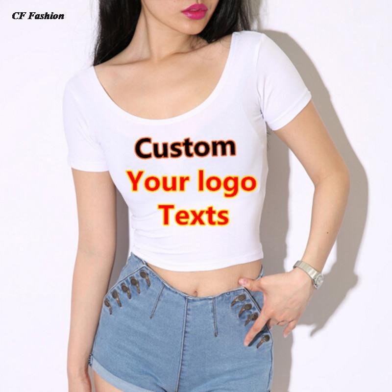 2016 sexy crop top t shirt women tops quick CUSTOM LOGO/TEXTS tshirt DIY printed summer Autumn top Girl t-shirt tee tops(China (Mainland))