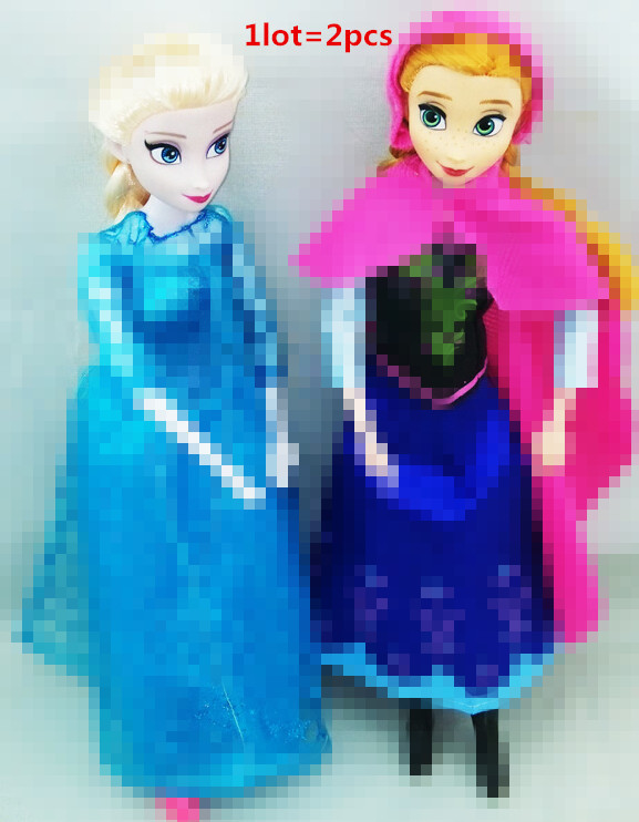 12 movable joints princesses doll 2015 new cute Anna Elsa mini baby doll action figures dolls toys 2pieces set classic toys(China (Mainland))