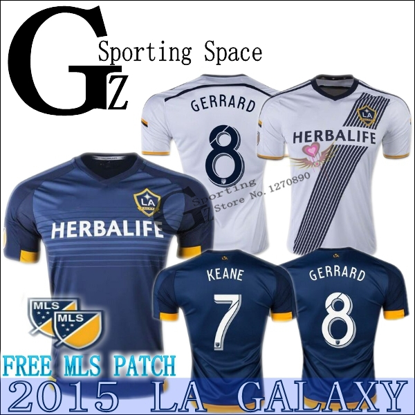 15 LA Galaxy Soccer jersey 2015 2016 Home player version Football shirt GERRARD GONZALEZ ZARDES ROGERS 16 Los Angeles Galaxy yh(China (Mainland))
