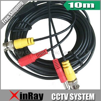 Free Shipping, 10M BNC Power video Plug and Play Cable for CCTV camera