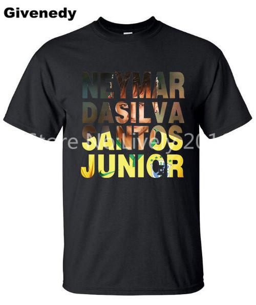 Brazil footballer Neymar da Silva Santos Junior New 100% Cotton Men Short Sleeve O-Neck T-Shirt Custom cotton T Shirt(China (Mainland))