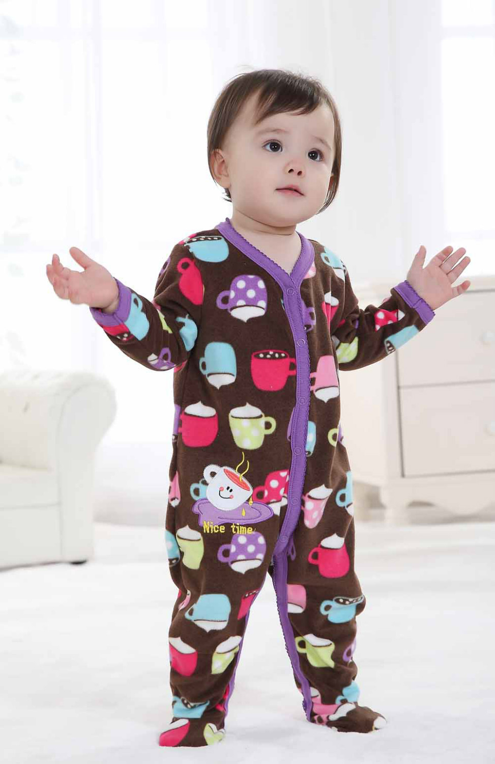Fleece Foot Cover Baby Rompers Baby Bodysuits Toddler Pajamas One-piece Romper W150<br><br>Aliexpress