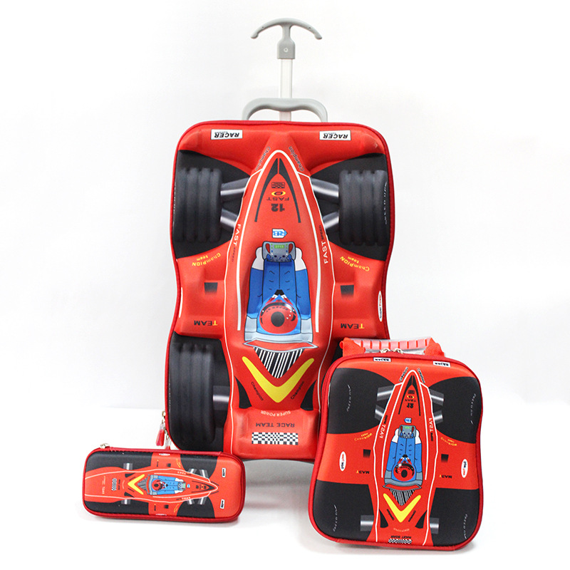 Primary F1 racing trolley three piece EVA cute cartoon pencil boxes set schoolbag