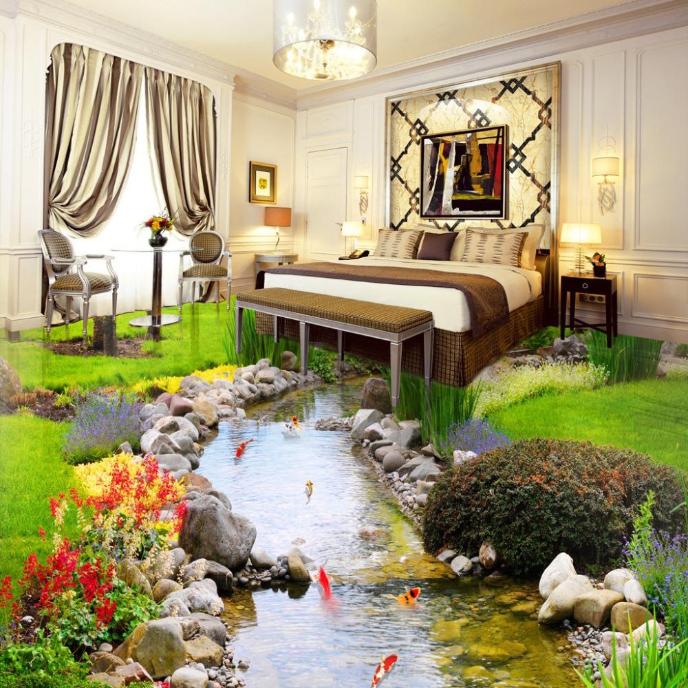 Custom photo 3D wallpaper new designs PVC 3d floor wallpaper naturl river water wallpaper roll(China (Mainland))