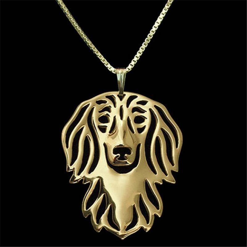 30pcs/lot Long Haired Dachshund Necklace Classic Dog Animal Pendant Silver Gold Plated Wholesale<br><br>Aliexpress