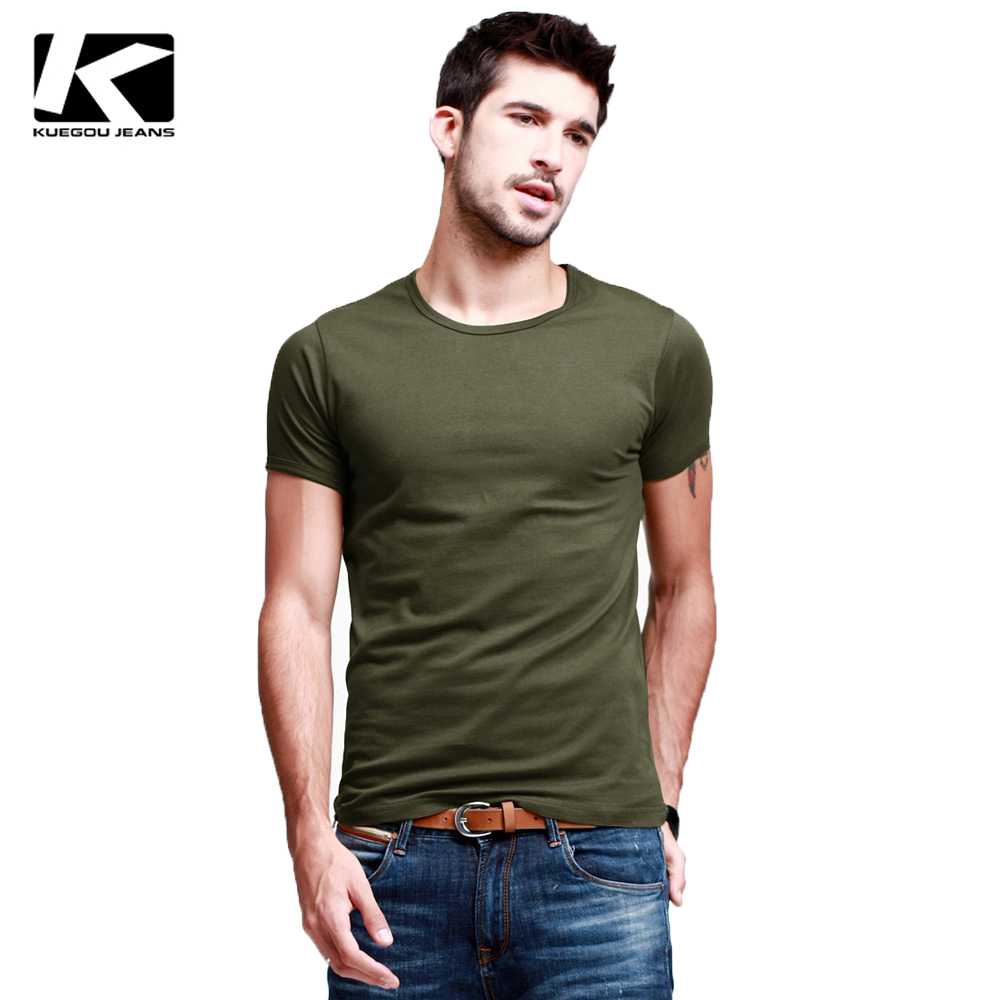 Kuegou high elastic man t shirt wholesale brand men t Bulk quality t shirts