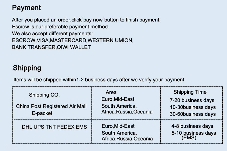 payment shipping