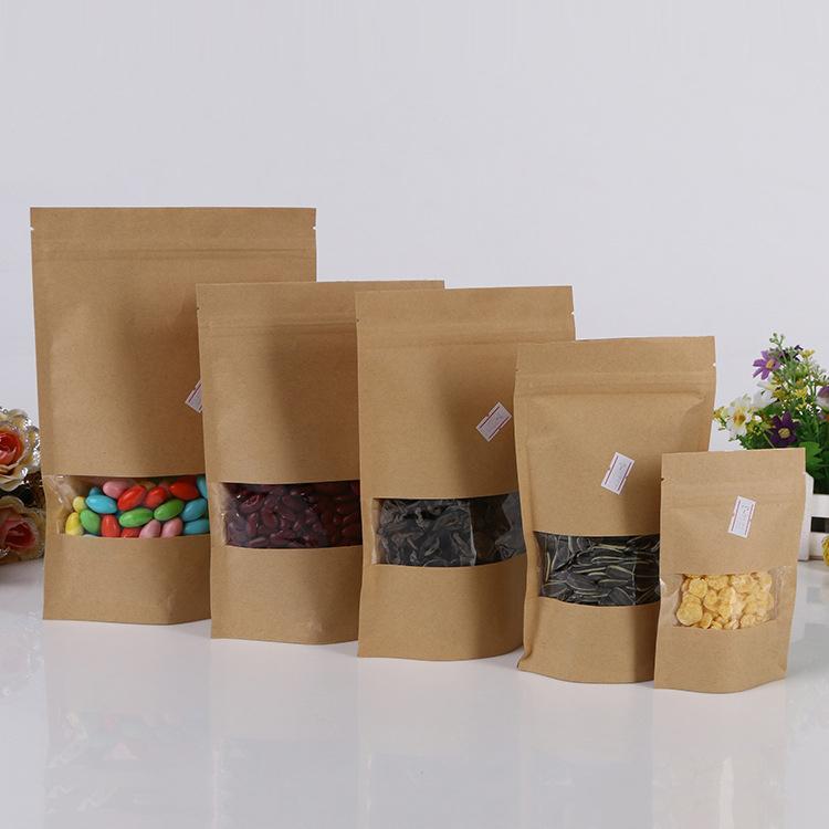 12*20+4cm 100pcs kraft paper ziplock Window bag for gift/tea/candy/jewelry/bread Packaging Paper food bag diy Packaging Bags(China (Mainland))