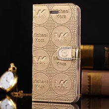 """Fashion Diamond Flip Wallet Leather MKS Back Cover Case For iPhone 6 4.7"""" Phone Cases For iphone6 Plus 5.5'' Cases Free Shipping(China (Mainland))"""