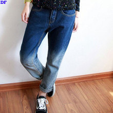 Plus Size Calca Boyfriend Jeans For Women 2015 Gradient Denim Jeans Woman Ripped Jeans For Women Hot Sale Loose Denim Pants Lady