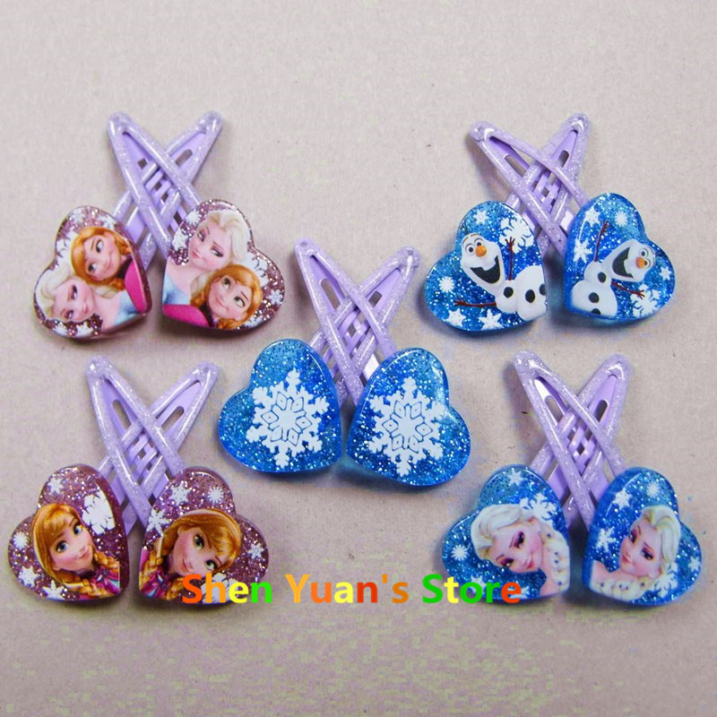 1 pair 5cm Elsa Anna Heart-shaped clip Headwear Female Girls babys Hair Accessory Wafer Side-knotted Clip Hairpin Valentine Day(China (Mainland))