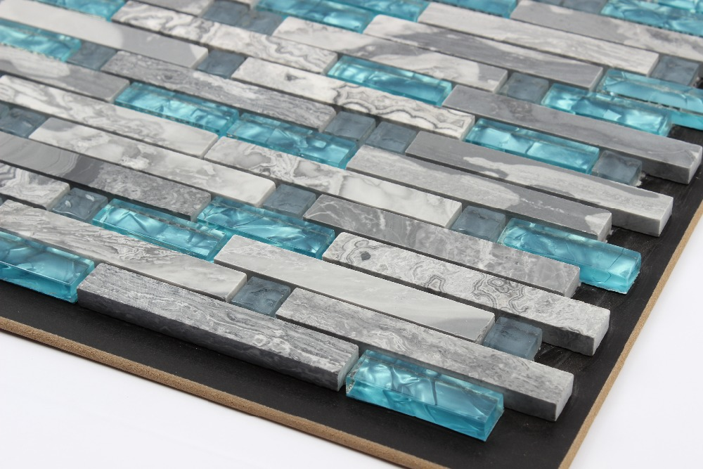 blue glass tile kitchen backsplash tile grey stone mosaic