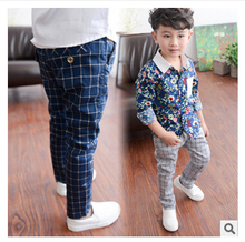 Spring and autumn children's clothes pant for big boy new cotton plaid pants boy pants kids European style casual pant(China (Mainland))