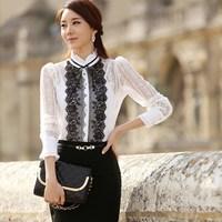 New arrival  autumn slim three-dimensional decoration patchwork white lace shirt  blusas femininas 2014 women blouse top
