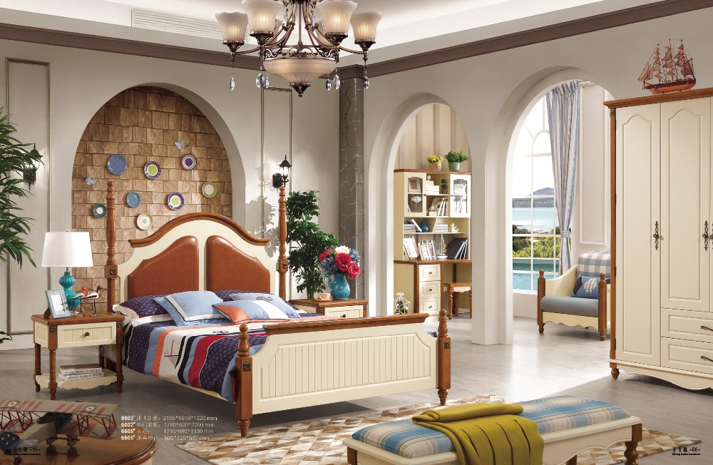 Mediterranean style oak wood bedroom furniture popular bedroom set(China (Mainland))