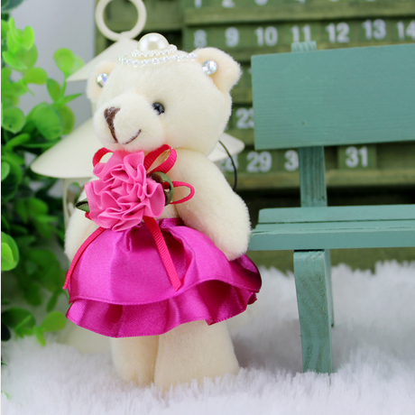 12cm multicolor diamond mini plush teddy bear jointed bear with dress for phone pendant, wedding gift, bouquet doll(China (Mainland))