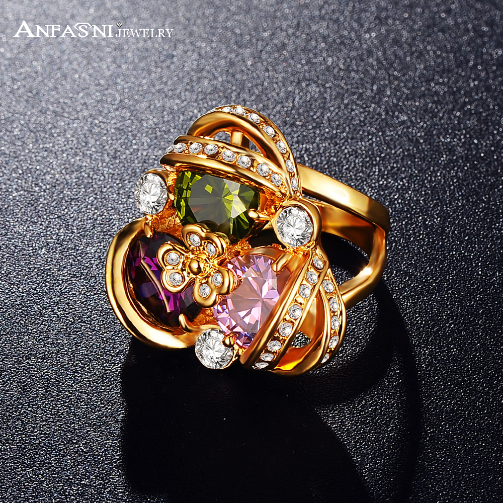Fragrant Sweet Clover Ring Lucky Jewelry 18K Gold Plated Genuine Austrian Crystals SWA Elements Clover Flower Ring Ri-HQ0346(China (Mainland))