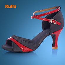 KULLA new arrival hotsale heel ballroom tango latin dance shoes for women dancing salsa shoes high-heeled adult soft outsole L78