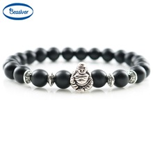 Jewelry Men Bracelets Silver Laughing Buddha Lucky Charm Bracelets & Bangles Onyx Agate Stones beads Women Fashion Accessories(China (Mainland))