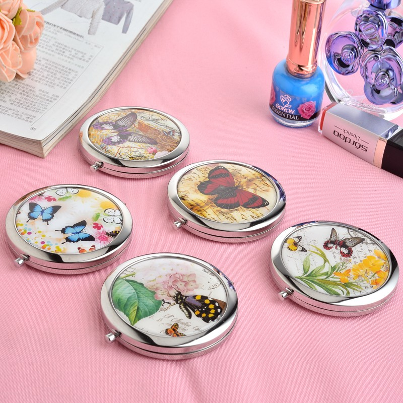 1pc butterfly stainless steel pocket mirror two sided for Application miroir pc