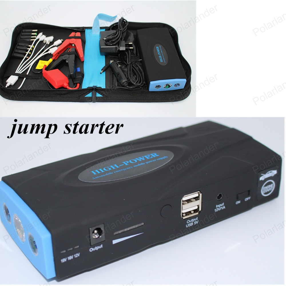 12V portable mini jump starter50800Amh2USB car jumper booster power battery charger laptop power bank car starting free shipping(China (Mainland))