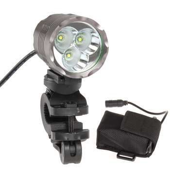 SecurityIng 1800Lm 3 x XPG-R5 LED Bicycle Light + 4400mAh Battery Pack + Charger