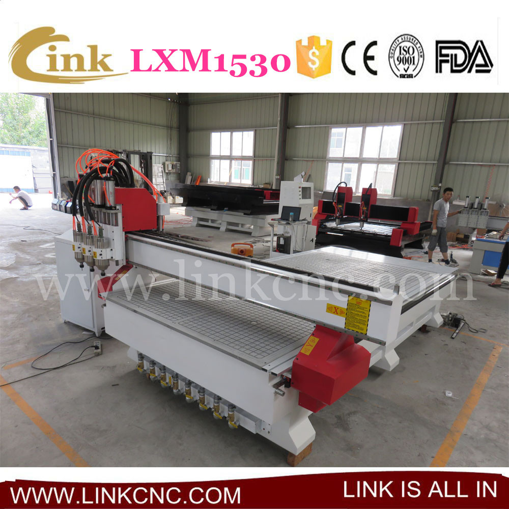 LXM1530 good character cnc router, three heads+vacuum table LINK 1530 cnc router(China (Mainland))