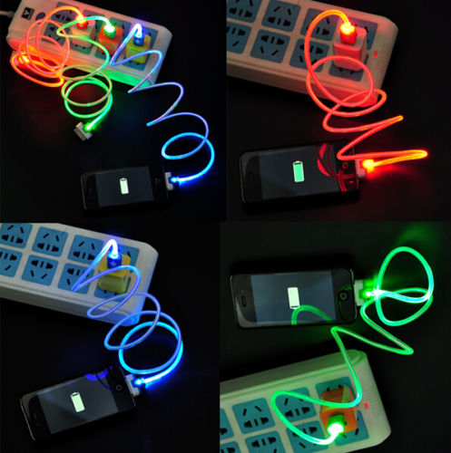 30 Pin 3Colours LED Light USB Data Sync Charger Cable Charging Cord For IPhone 4 4s 3gs ipad(China (Mainland))