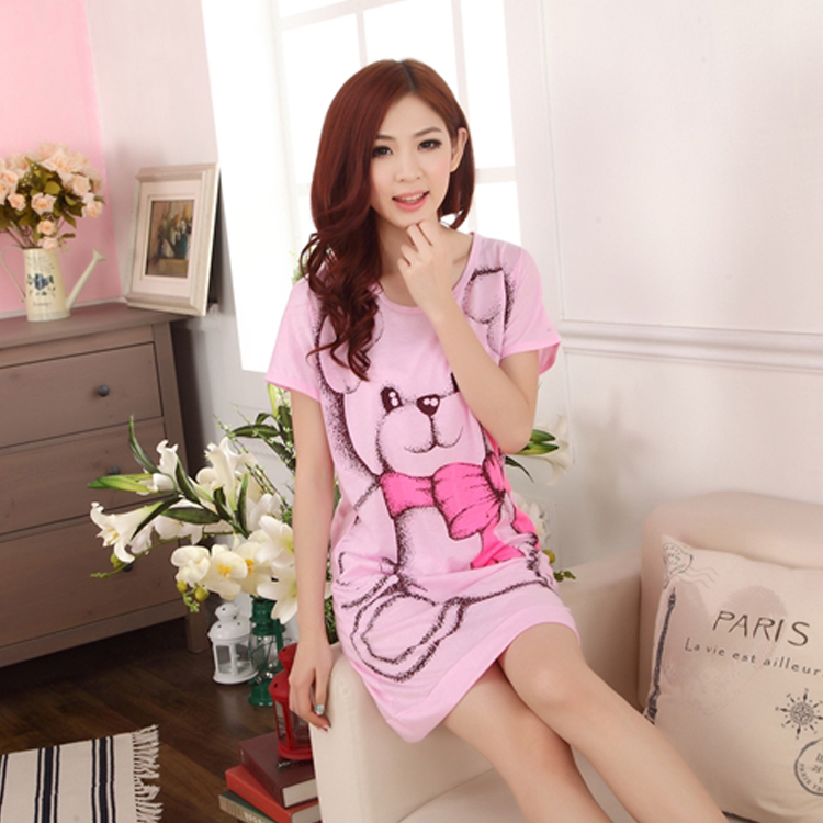 2016 Women Summer Dress Lovely Bear Printed Nightgown Girls Robes Short-sleeved Ladies' Vestidos Factory - Kate's Fashion store
