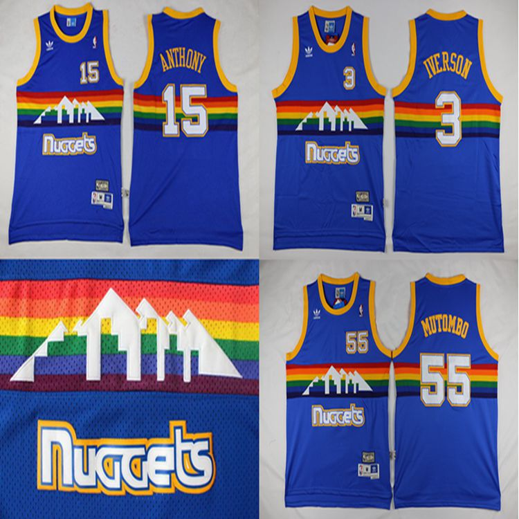 2016 Throwback Denver Nuggets 15 Carmelo Anthony 55 Dikembe Mutombo 3 Allen Iverson RAINBOW 100% Stitched logo(China (Mainland))