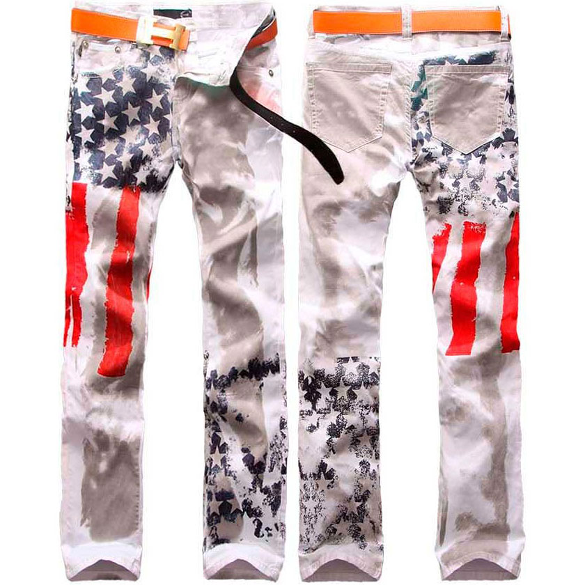 Men's Clothing 2016 American Flag Pattern Men's Jeans Wash Water Male Slim Trousers Hot-selling Drop Shipping Plus size W28-48(China (Mainland))