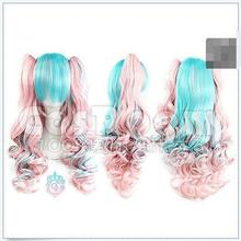 Wholesale& heat resistant LY free shipping>>>Pretty Fashion Lolita Cosplay Party Wig Hair Long Curly Wig 2 x Clip On Ponytail