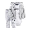 3pcs set Gray White Infant Children Baby Boy Clothes Set Newborn Born Wear Costume Bodysuit Pants