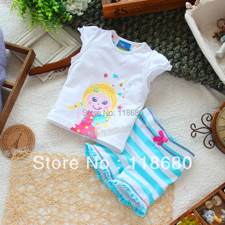 Free shipping Retail new 2013 childrens summer sets girl clothes lovely baby suit mouse topolino child vest t-shirt  shorts set<br><br>Aliexpress