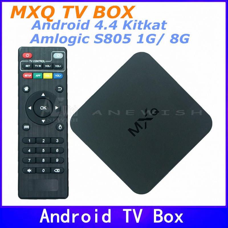 MXQ xbmc Kodi Tv Box Amlogic S805 Quad Core Google Android 4.4 Kitkat 1GB 8GB Support H.265 Smart Media Player Android Tv Box(China (Mainland))