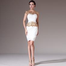 2014 O Neck Sheath Knee Length White Chiffon Applique Cocktail Dresses Short Semi Formal Dresses Vestidos