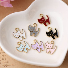 New Arrival 20PCS Kawaii Animal Cat Shape DIY Jewelry Charms Gold Tone Metal Alloy Oil Drop Fashion Jewelry Pendants 13*15mm