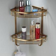 Fashion Space Aluminum Bathroom Shelf Antique Brass Double Layer Corner Shelf Basket(China (Mainland))