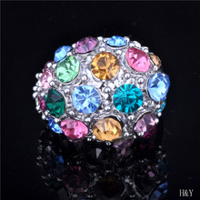 24 k gold ring 2015 new contracted style color crystal ring Women's marriage jewelry wholesale free shipping