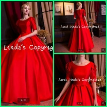 Fashion 2016 red ball gown half sleeve modest prom dress ruched with sahses floor length vintage prom gowns best selling(China (Mainland))