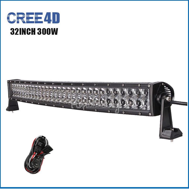 32Inch 300W 4D LED Light Bar Cree Combo Beam Curved Work Light Offroad 4WD 4X4 SUV ATV Trailer Truck Camper 12v 24v Driving Lamp(China (Mainland))